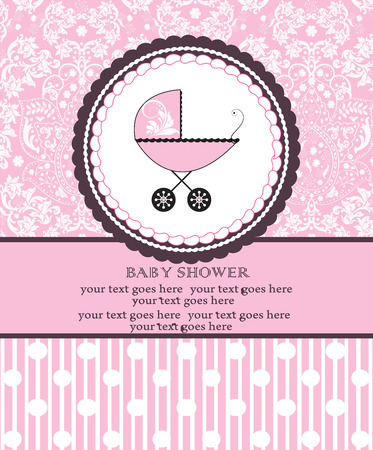 Vintage baby shower invitation card with ornate elegant retro abstract floral design, pink with baby carriage on cake with polka dots and stripes. Vector illustration.