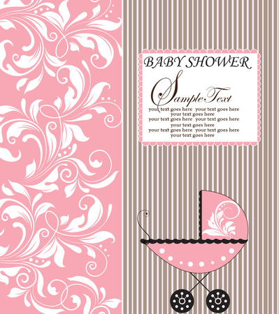 baby shower party: Vintage baby shower invitation card with ornate elegant retro abstract floral design, white flowers on pink with baby carriage and stripes. Vector illustration. Illustration