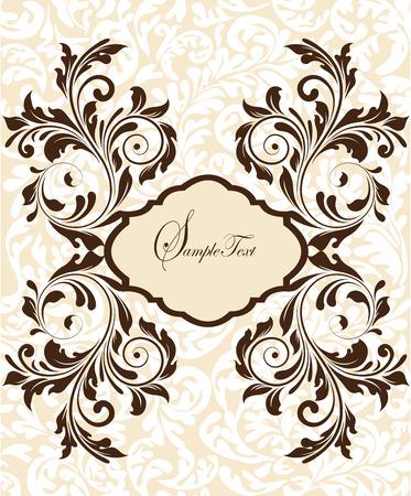 Vintage invitation card with ornate elegant abstract floral design, brown on flesh. Vector illustration. Illustration