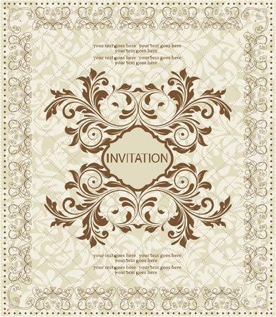 Vintage invitation card with ornate elegant abstract floral design, brown on gray. Vector illustration. Illustration