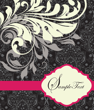 fuschia: Vintage invitation card with ornate elegant abstract floral design, purple and white flowers on black with fuschia pink ribbon. Vector illustration.