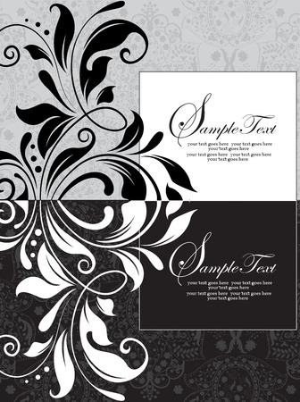 elegant white: Vintage invitation card with ornate elegant abstract floral design, black, white and gray. Vector illustration. Illustration