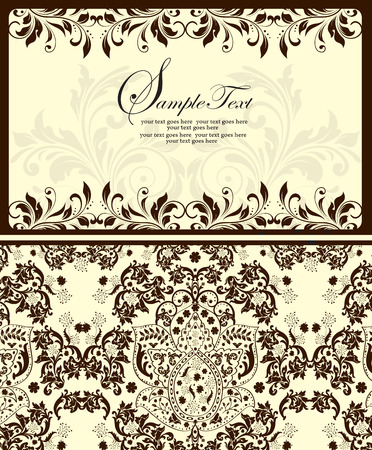 Vintage invitation card with ornate elegant abstract floral design, brown and gray on pale yellow. Vector illustration. Illusztráció