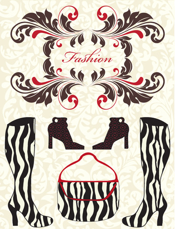 Fashion show invitation with ornate elegant retro abstract floral designs and zebra shoes and bag. Vector illustration.