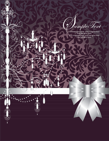 birthday party invitation: Vintage invitation card with ornate elegant abstract floral design, silver on purple with chandelier and stripes. Vector illustration.