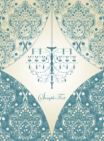 Vintage invitation card with ornate elegant abstract floral design, light blue on gray with chandelier. Vector illustration.