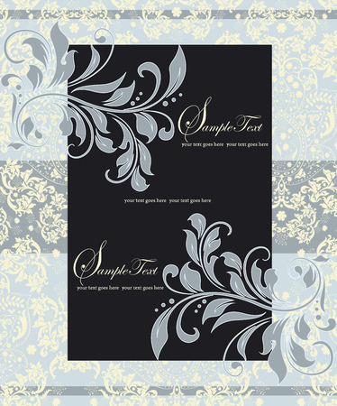 pale yellow: Vintage invitation card with ornate elegant abstract floral design, gray and black on pale yellow and blue. Vector illustration. Illustration