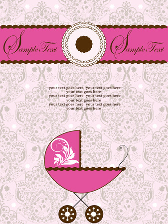 carriage: Vintage baby shower invitation card with ornate elegant abstract floral design, gray on light pink with baby carriage, cake and ribbon. Vector illustration. Illustration