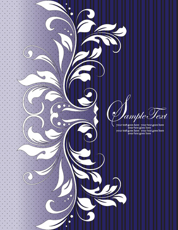 Vintage invitation card with ornate elegant abstract floral design, sapphire blue with black stripes. Vector illustration.