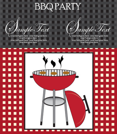 bbq picnic: Vintage barbecue party invitation card with abstract weave design, gray red and black with barbecue grill. Vector illustration. Illustration