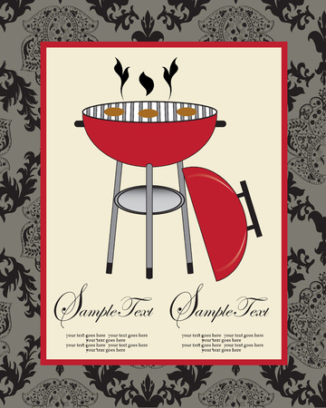 Vintage barbecue party invitation card with ornate elegant abstract floral design, black on gray with red barbecue grill. Vector illustration.