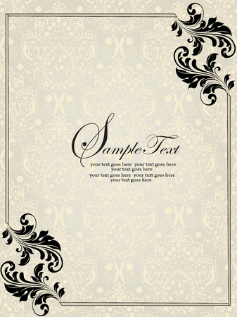 Vintage invitation card with ornate elegant abstract floral design, black on silver and pale yellow with border. Vector illustration.