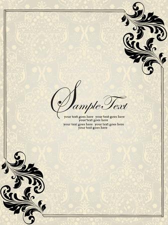 Vintage uitnodigingskaart met sierlijke elegante abstracte bloemdessin, zwart op zilver en lichtgeel met grens. Vector illustratie.