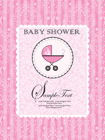 pink stripes: Vintage baby shower invitation card with ornate elegant abstract floral design, pink stripes with baby carriage on cake. Vector illustration. Illustration