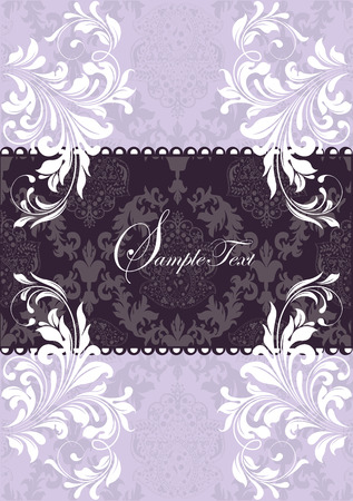 Vintage wedding invitation card with ornate elegant retro abstract floral design, gray and white on purple. Vector illustration.