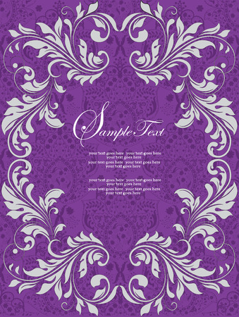 birthday party invitation: Vintage invitation card with ornate elegant abstract floral design, white on royal purple. Vector illustration.