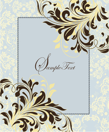 Vintage invitation card with ornate elegant abstract floral design, brown on pale yellow and blue with frame. Vector illustration.