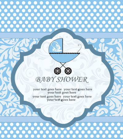 Vintage baby shower invitation card with ornate elegant retro abstract floral design, blue with white polka dots and baby carriage. Vector illustration.
