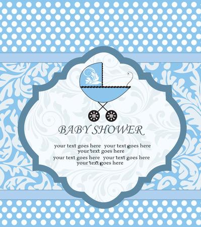 invitacion baby shower: Tarjeta de la vendimia de bienvenida al bebé de invitación con diseño retro elegante adornado abstracto floral, azul con lunares blancos y cochecito de bebé. Ilustración del vector.