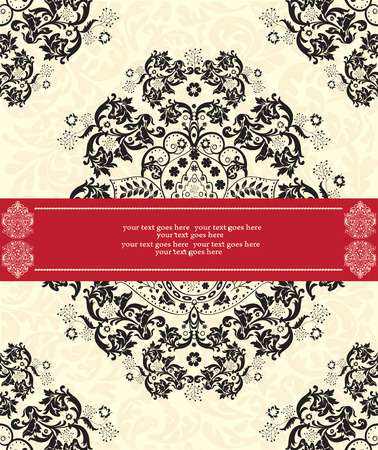 pale yellow: Vintage invitation card with ornate elegant abstract floral design, black on pale yellow with red ribbon. Vector illustration.