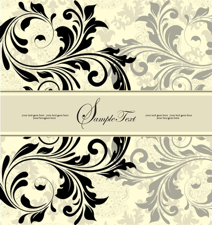 pale yellow: Vintage invitation card with ornate elegant abstract floral design, black and gray on pale yellow. Vector illustration.