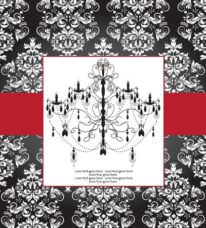 Vintage invitation card with ornate elegant abstract floral design, white on black with chandelier and red ribbon. Vector illustration. Illustration