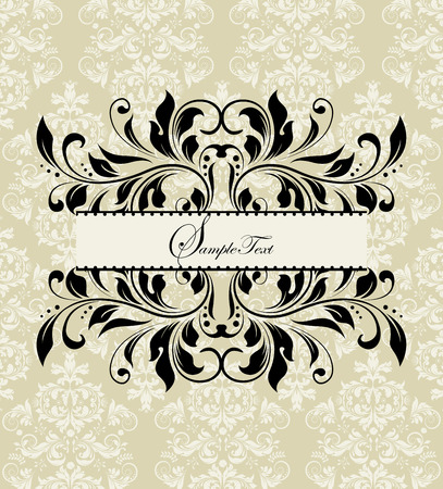 Vintage invitation card with ornate elegant abstract floral design, black on grayish yellow. Vector illustration. Vector