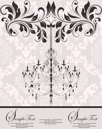 Vintage invitation card with ornate elegant abstract floral design, black and white on gray with chandelier. Vector illustration.