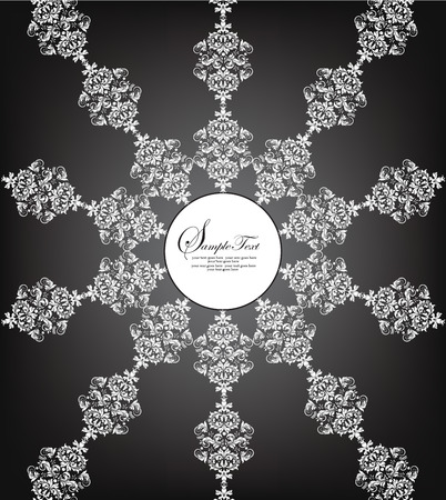 garden party: Vintage invitation card with ornate elegant abstract radial floral design, white on black with glow from behind. Vector illustration. Illustration