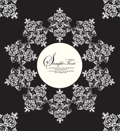 Vintage invitation card with ornate elegant abstract radial floral design, white on black. Vector illustration.