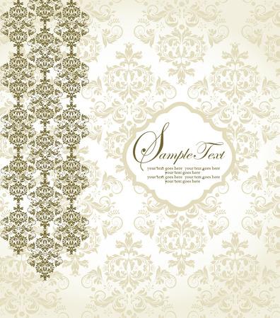 royal wedding: Vintage invitation card with ornate elegant abstract floral design, gold on gray. Vector illustration.