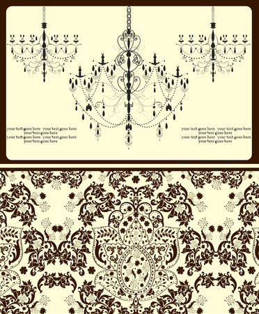 pale yellow: Vintage invitation card with ornate elegant abstract floral design, brown on pale yellow with chandeliers. Vector illustration.