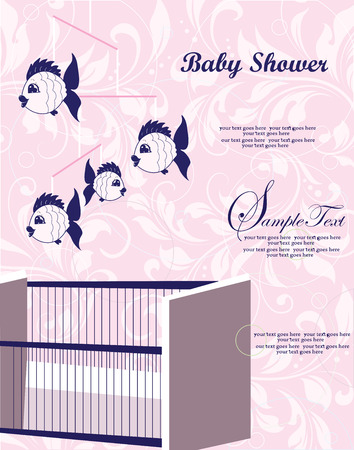 roman catholic: Vintage baby shower invitation card with ornate elegant retro abstract floral design, blue on pink with baby crib with fish mobile. Vector illustration. Illustration