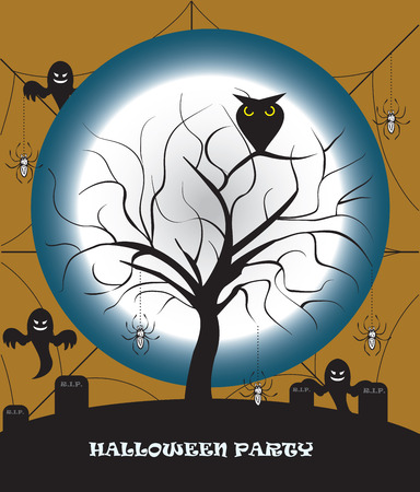 you are special: Spooky Halloween Party card with abstract design, dead tree on cemetery with ghosts spiders on a full moon night. Vector illustration.