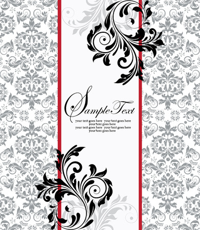 Vintage invitation card with ornate elegant abstract floral design, black and gray on white with two red stripes. Vector illustration.