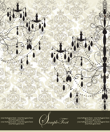 Vintage invitation card with ornate elegant abstract floral design, black and gray on pale green with chandeliers. Vector illustration.