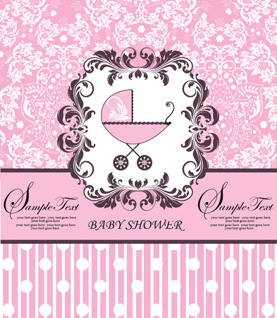 Vintage baby shower invitation card with ornate elegant retro abstract floral design, pink with baby carriage, polka dots and stripes. Vector illustration. Illustration