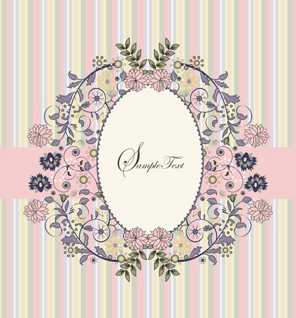 pink stripes: Vintage invitation card with ornate elegant retro abstract floral design, multi-colored flowers on stripes with pink ribbon. Vector illustration.