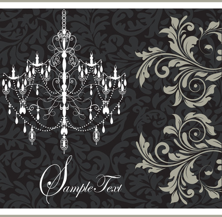 Vintage invitation card with ornate elegant abstract floral design, gray on black with white chandelier. Vector illustration.