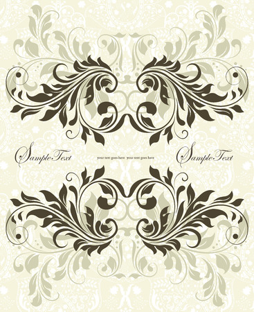 pale green: Vintage invitation card with ornate elegant abstract floral design, gray on pale green. Vector illustration.