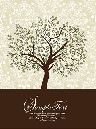 緑と茶色灰色の華やかなエレガントな抽象花木デザインとビンテージの招待状。ベクトルの図。