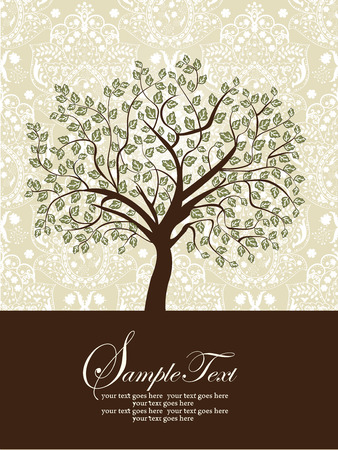 Vintage invitation card with ornate elegant abstract floral tree design, green and brown on gray. Vector illustration. Ilustração