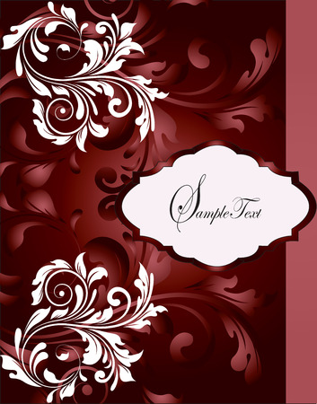 temptress: Vintage invitation card with ornate elegant abstract floral design, temptress red and white flowers. Vector illustration.