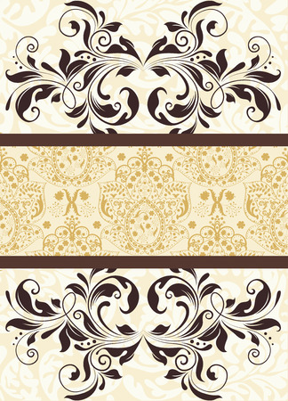 pale yellow: Vintage background with ornate elegant abstract floral design, brown on pale yellow. Vector illustration.