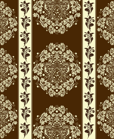 floral design elements: Vintage background with ornate elegant abstract floral design, brown and pale yellow. Vector illustration.