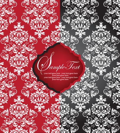 Vintage invitation card with ornate elegant abstract floral design, white on red and black. Vector illustration. Illustration