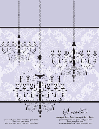 Vintage invitation card with ornate elegant abstract floral design, white on gray with black chandeliers. Vector illustration. Illustration