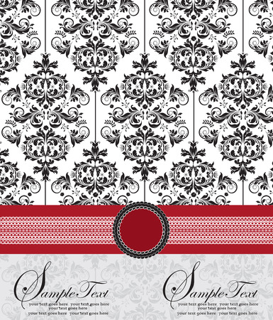 Vintage invitation card with ornate elegant abstract floral design, black and gray on white with red ribbon. Vector illustration.
