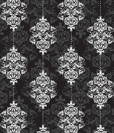 tile pattern: Vintage background with ornate elegant abstract floral design, gray and white on black. Vector illustration. Illustration