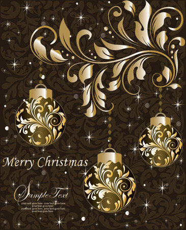christmas motif: Vintage Christmas card with ornate elegant abstract floral design, shining gold on brown with balls and twinkling stars. Vector illustration.